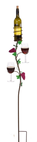 Wine glass and bottle holder ground stake