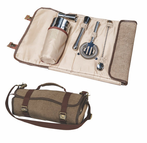 Roll up cocktail tool travel set