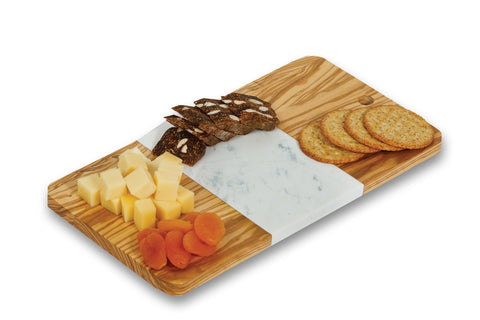Olive wood and white marble Crema cheese board