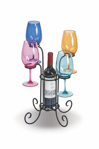 Wrought Iron Wine Bottle & Glass Caddy, made in USA