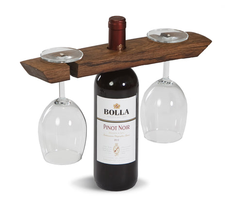 Wine Glass caddy made from a French wine barrel stave, made in the USA