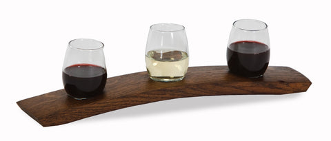 Wine Taster Flight made from a French wine barrel stave, made in the USA