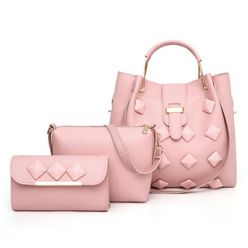 3-piece Fashion Handbag Set Pink