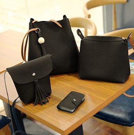 4pcs Tassel Handbag Shoulder Bag Set Black