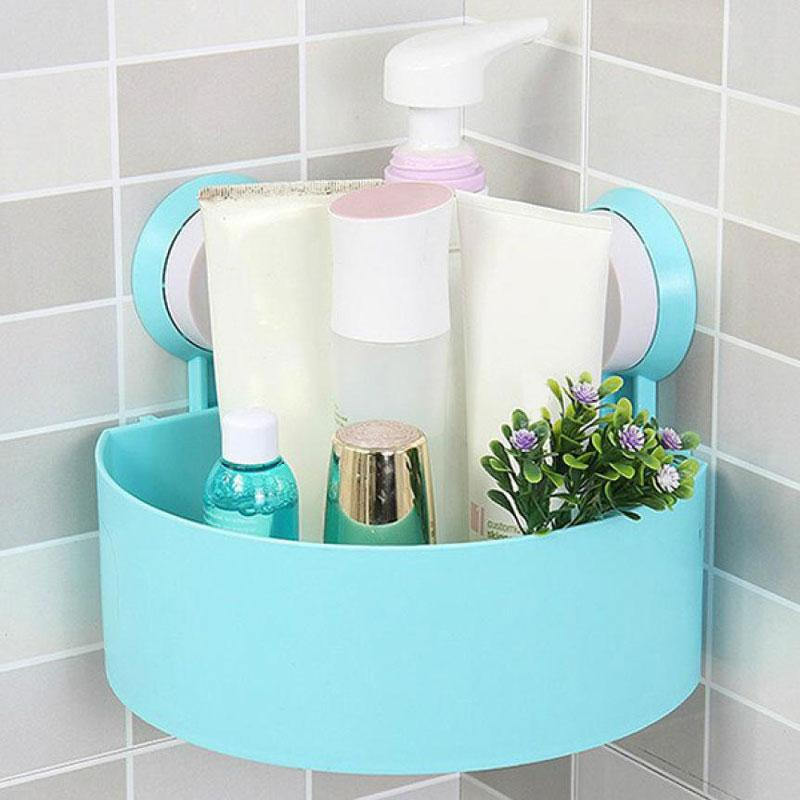 Wall Mounted Bathroom Corner Suction Cup Basket