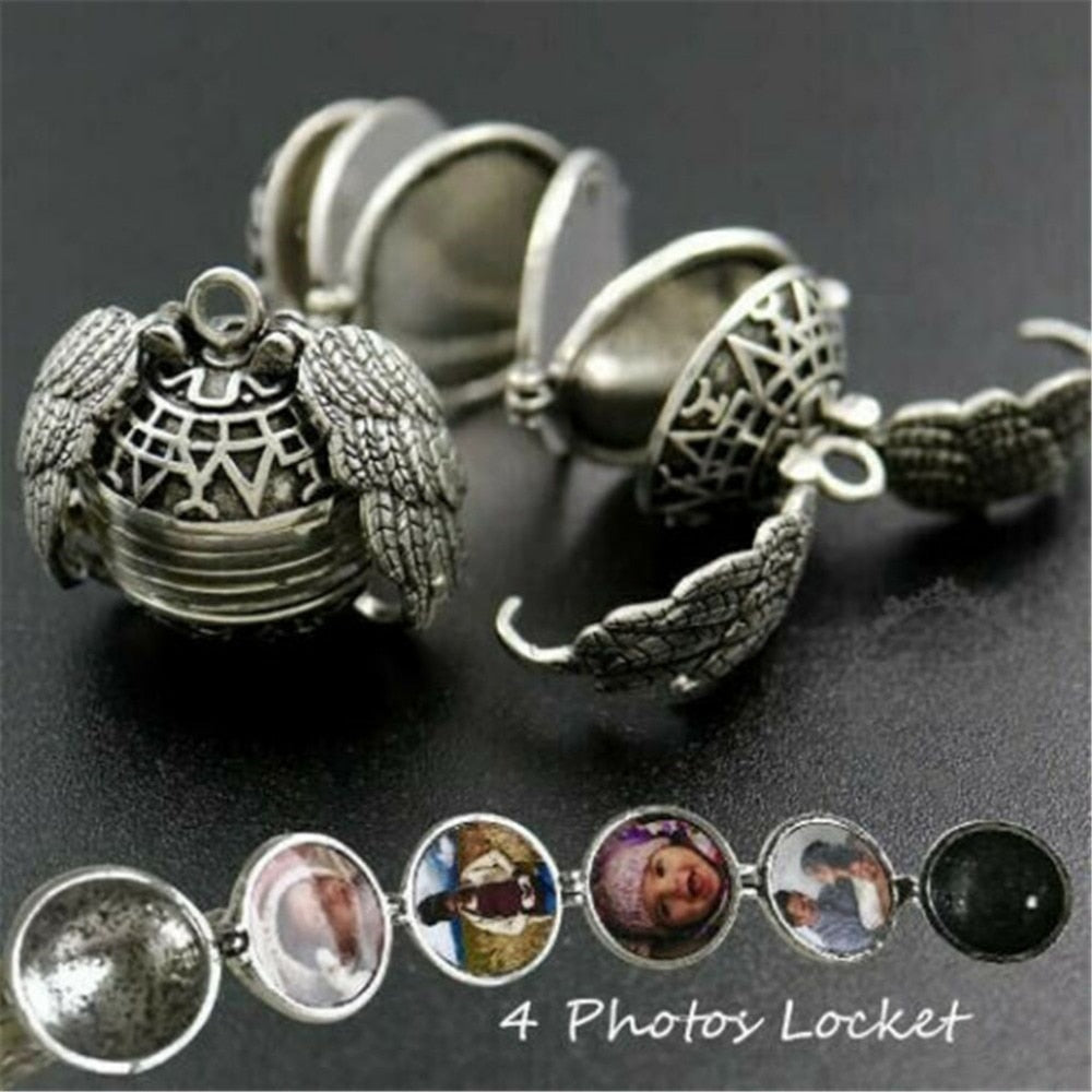 Expanding Photo Locket Necklace Pendant Angel Wings
