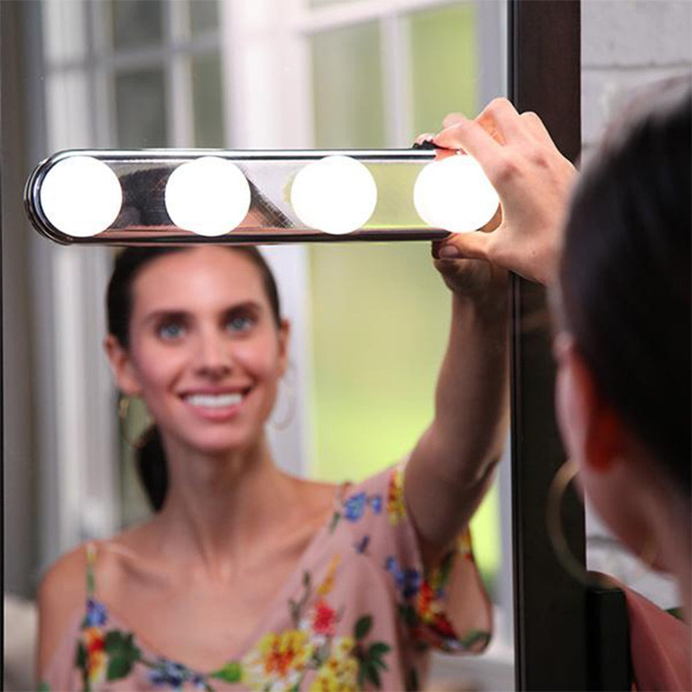 4 Bulb Led vanity Wall Suction Cup  Makeup Mirror