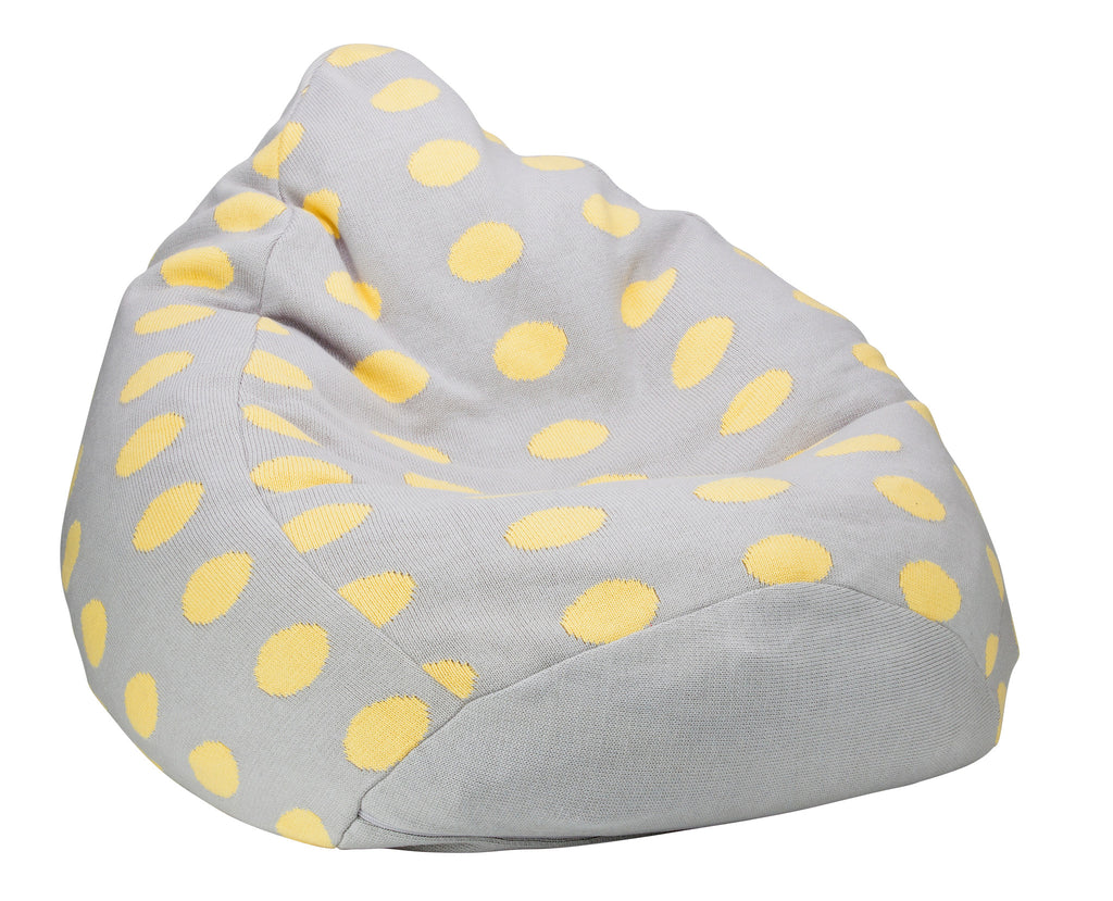 Ladedahkids Grey and Yellow Spot Bean Bag