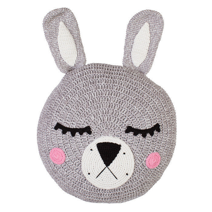 Grey Sleepy Bunny Snuggle Cushion