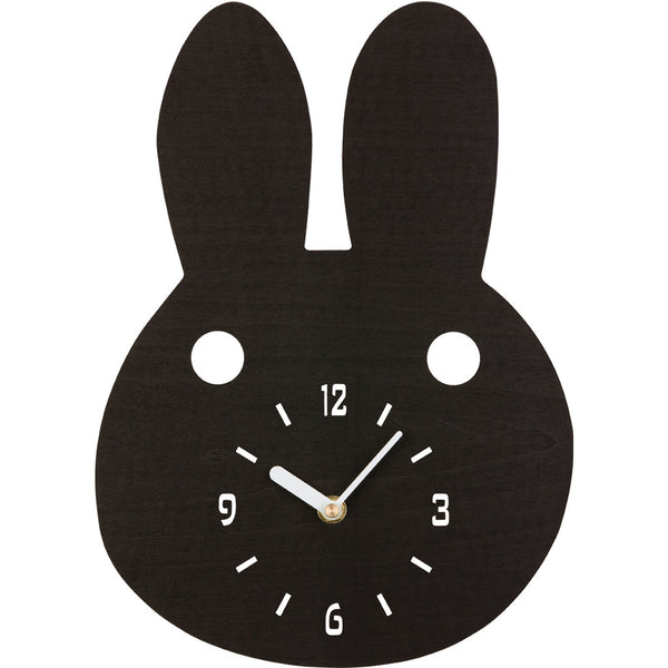 Ladedahkids Black Bunny Timber Clock
