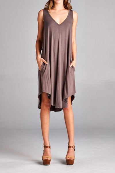 Double V Sleeveless Pocket Dress - EcoVibe Apparel  - 1