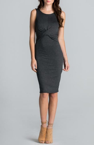 Criss Cross Bodycon Dress in Charcoal - EcoVibe Apparel  - 1