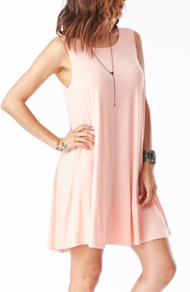 Bamboo Tank Swing Dress in Blush - EcoVibe Apparel