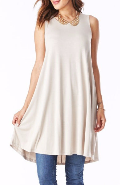 Bamboo Tank Swing Dress in Taupe - EcoVibe Apparel