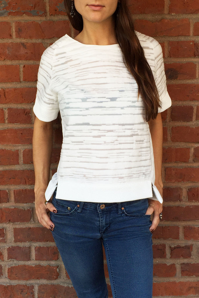 White Textured Top