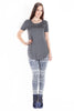 Short Sleeve Round Hem Tee in Charcoal Grey - EcoVibe Apparel  - 4