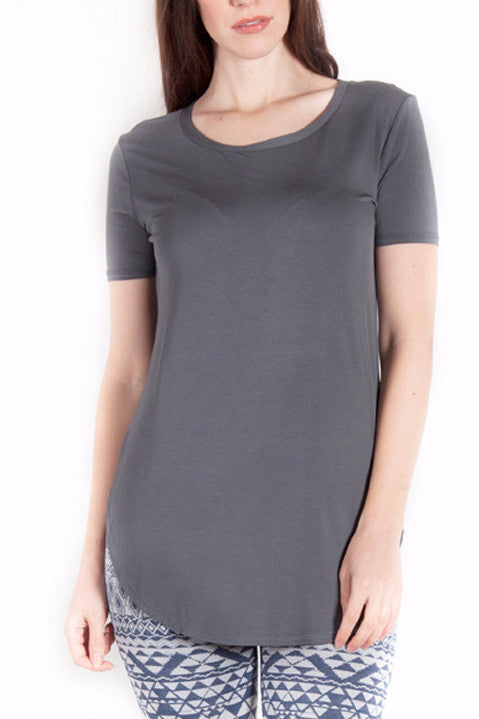 Short Sleeve Round Hem Tee in Charcoal Grey - EcoVibe Apparel  - 1