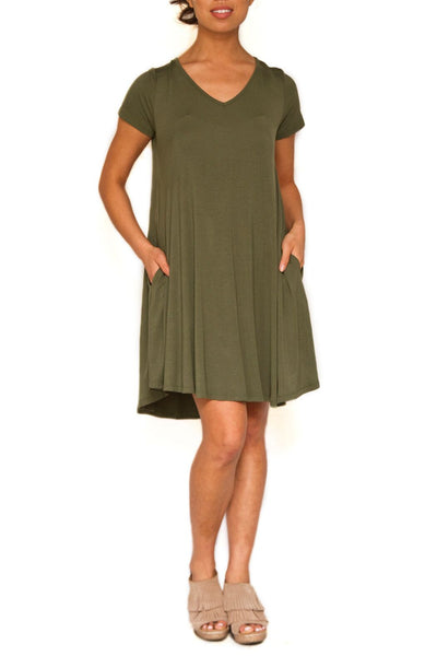 Bamboo Swing Dress With Pockets - EcoVibe Apparel  - 1