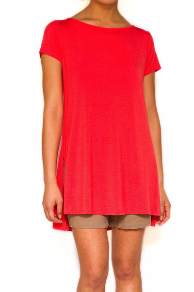 Bamboo Side Slit Top in Coral - EcoVibe Apparel  - 1