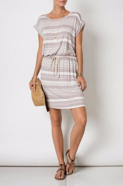 Striped Casual Dress - EcoVibe Apparel  - 1