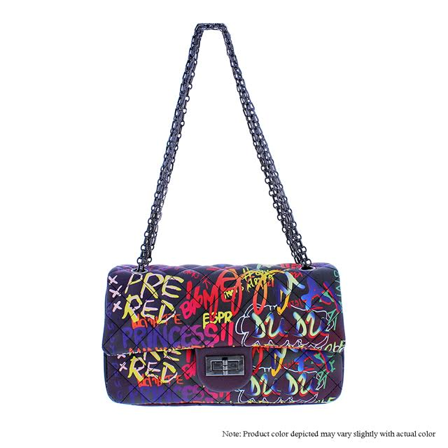 Graffiti Shoulder Bag - Black