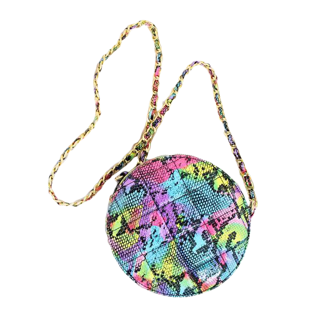 Round Quilted Crossbody Bag -Multi Snake 2