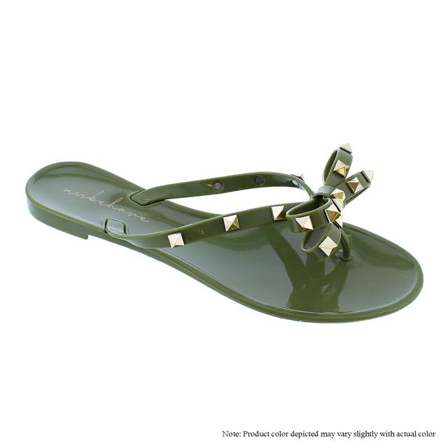 Gold Studded Bow Thong Sandals -Light Olive