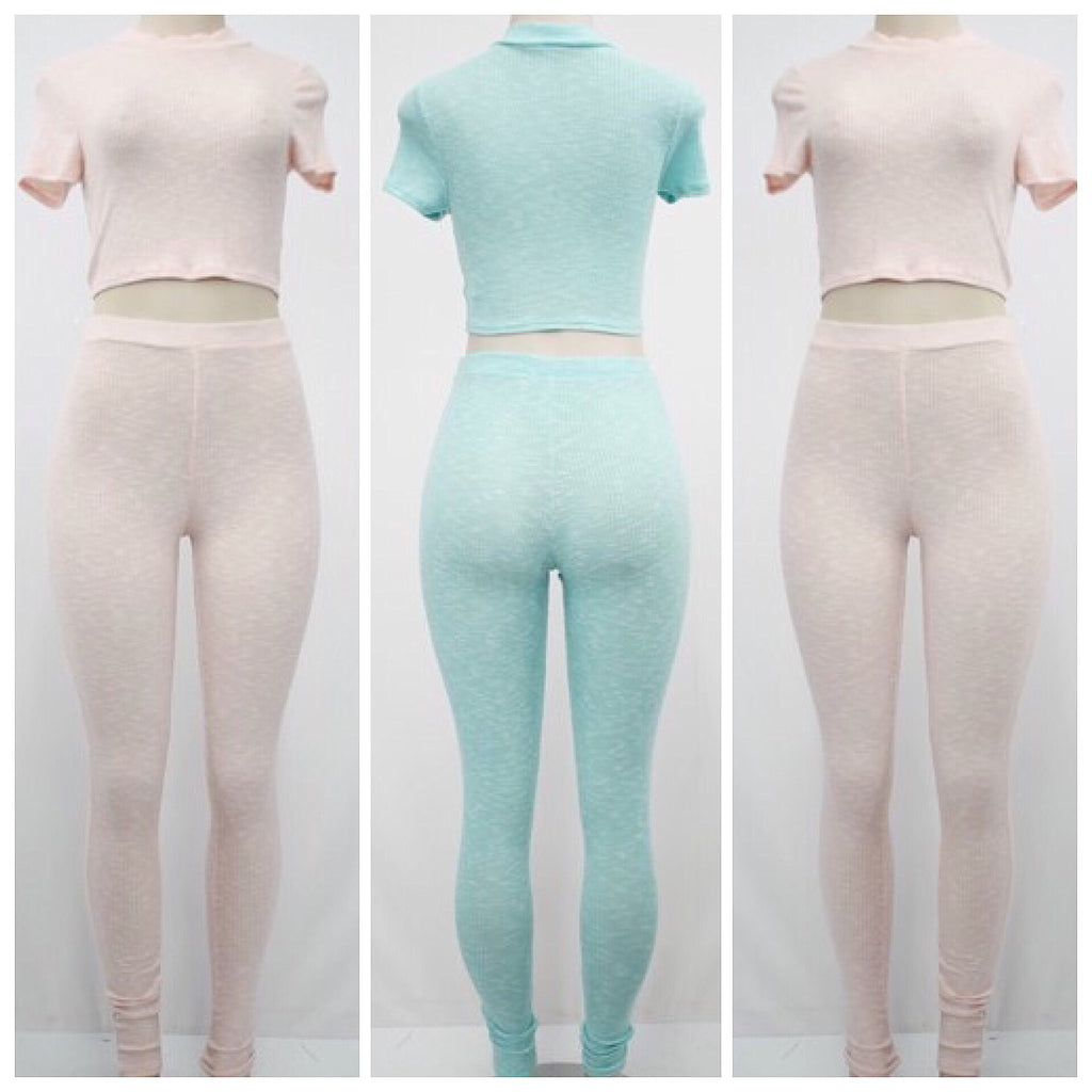 2 Piece Crop Top Legging Set - The House of Stylez