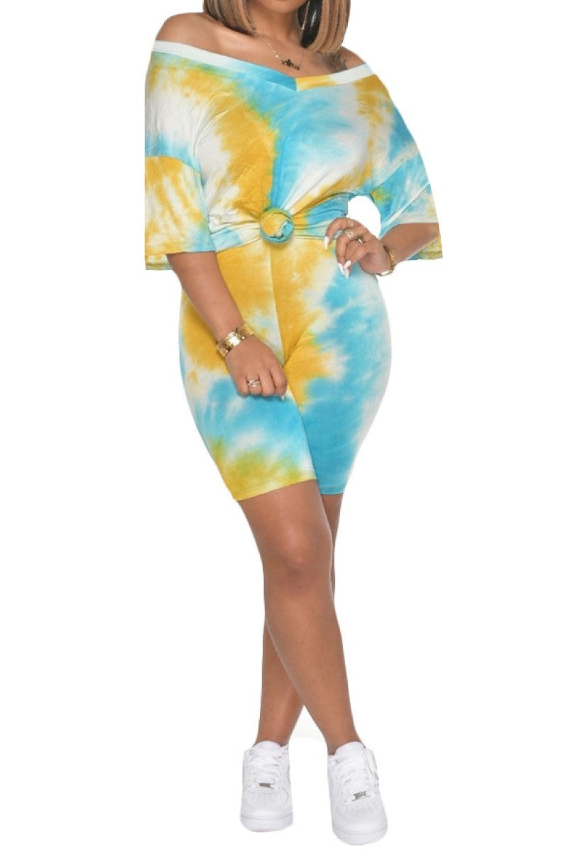 2 PC TIe Dye V-neck Biker Short Set -  Mustard/Turquiose/White - The House of Stylez