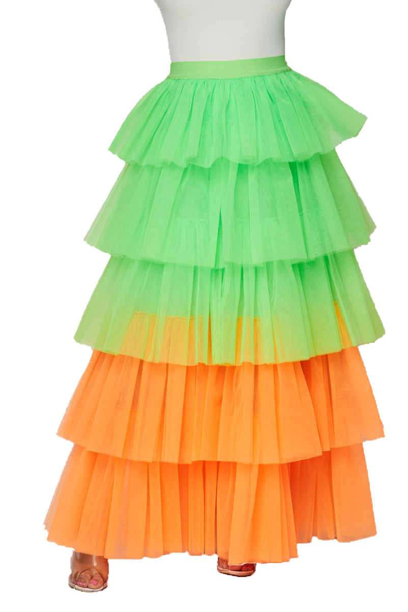 Two Tone Ruffle Mesh Tulle Maxi Skirt - Neon Green/Orange - The House of Stylez