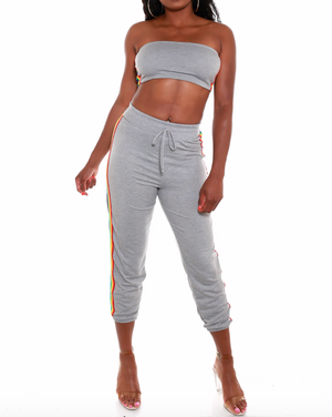 2 PC Rainbow Striped Bandeau Hi Waist Jogging Set {2 Colors Available} - The House of Stylez