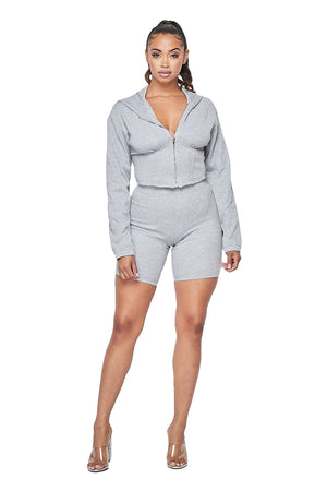 2 PC Cropped Hoody Corset Short Set - {3 colors available}
