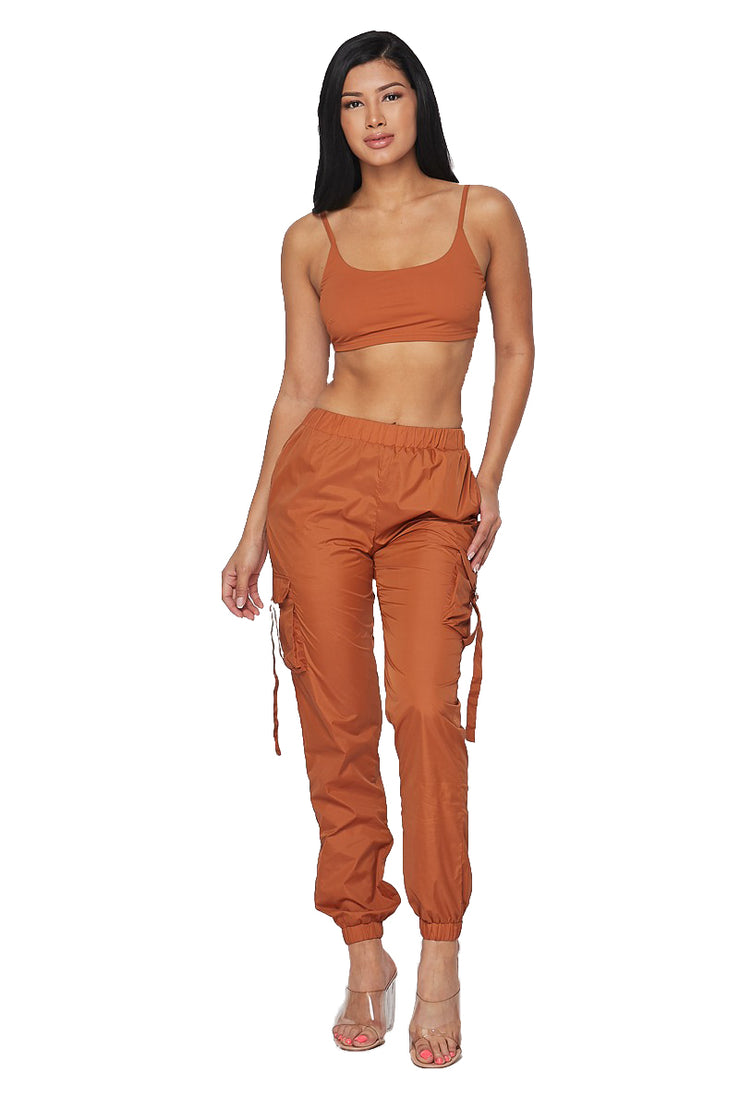 2 PC Cropped Tank Track Suit -Rust