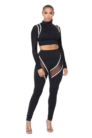 2 PC Spandex Cropped Jacket Legging Set {2 colors available} {Sleeves are See Thru}