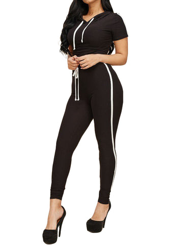 2 Piece One Striped Hoody Top & Legging  Set - Black - The House of Stylez