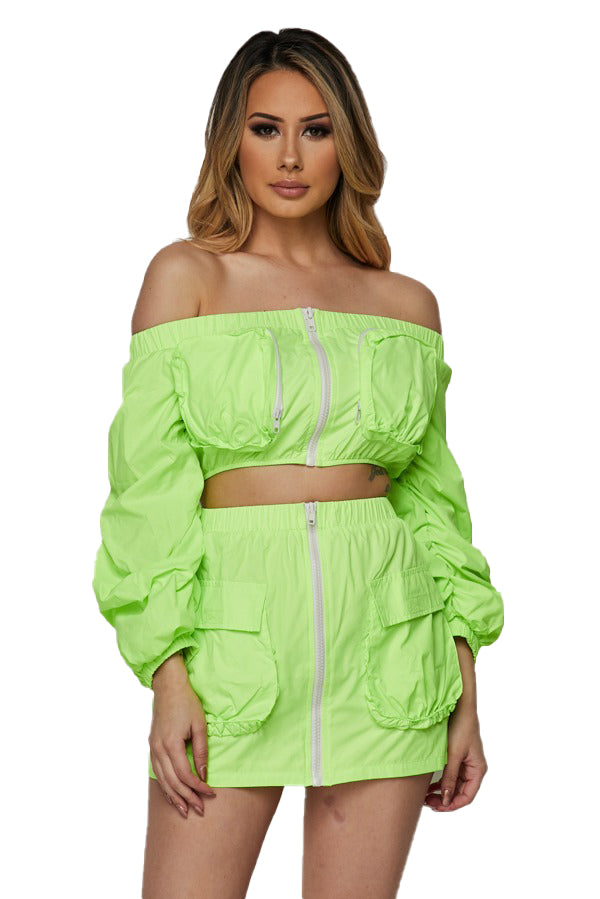 2 PC Off the shoulder Track Skirt Set - Neon Lime - The House of Stylez
