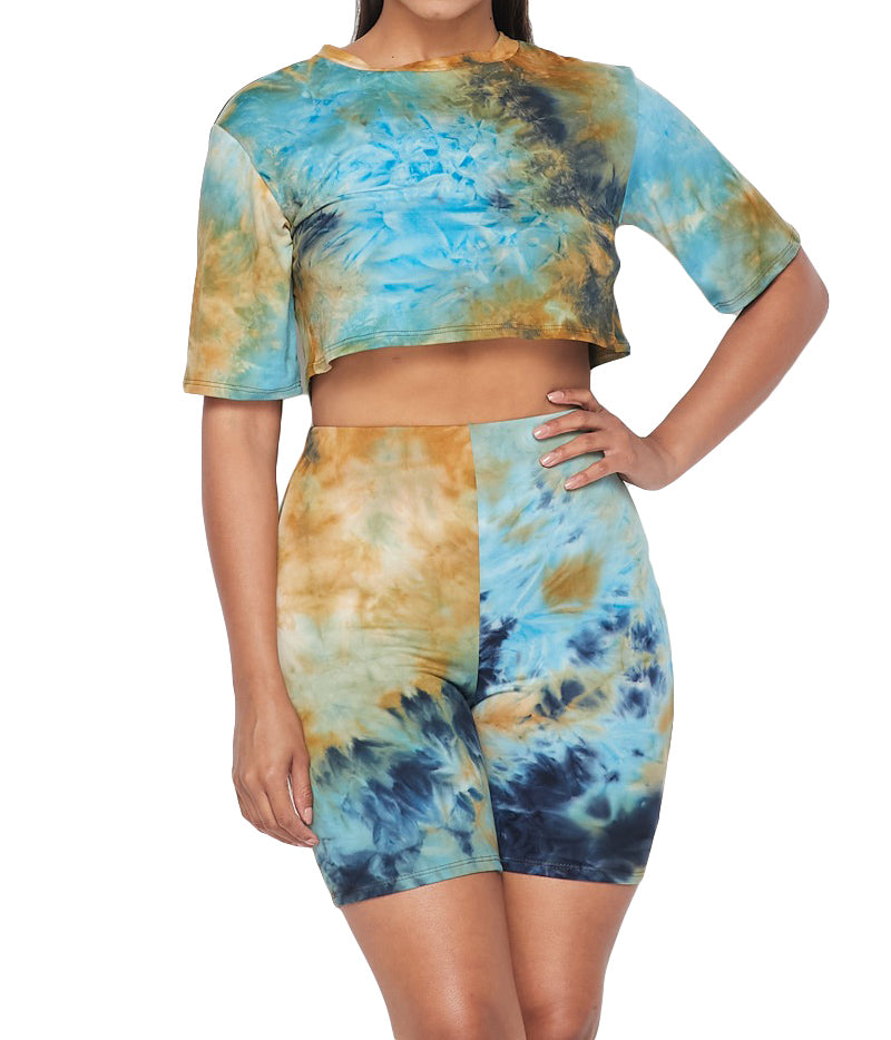 2 PC Tie Dye Cropped Top Shorts Set - The House of Stylez
