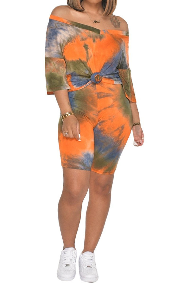 2 PC TIe Dye V-neck Biker Short Set -  Orange/Blue/Olive - The House of Stylez