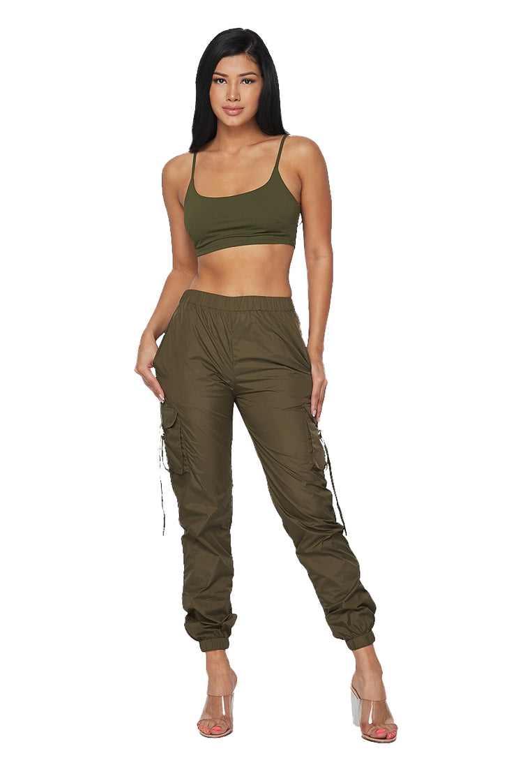 2 PC Cropped Tank Track Suit -Olive