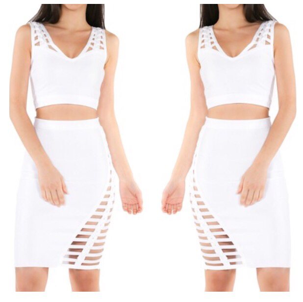 2pc Bandage Sleeveless V-Neck top w/ Braided Detail Skirt Set - The House of Stylez