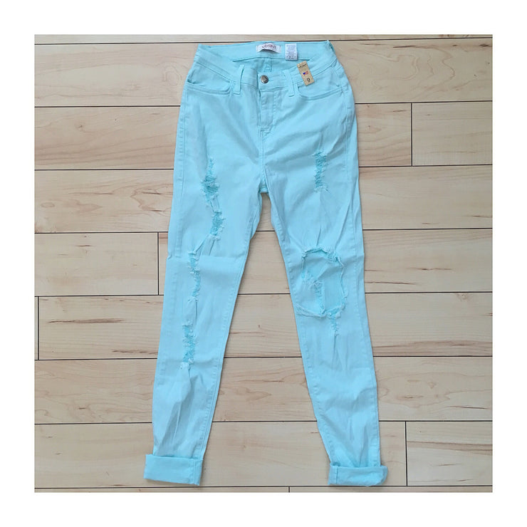 Super Soft Mint Distressed Jeans - The House of Stylez
