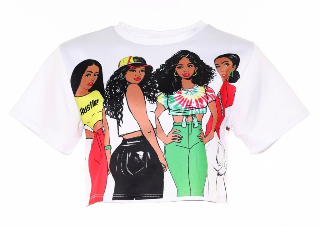Four Brown Gyrls Short Length Tee - The House of Stylez