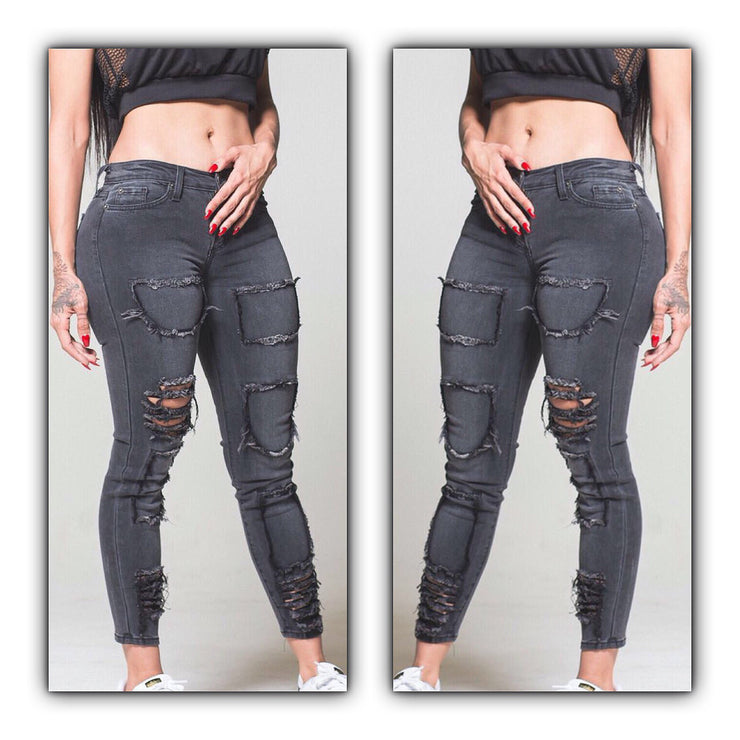 Black Washed Denim Patched Distressed Jeans - The House of Stylez