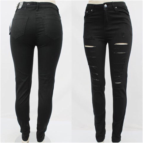Black Slashed Skinny Jeans - The House of Stylez