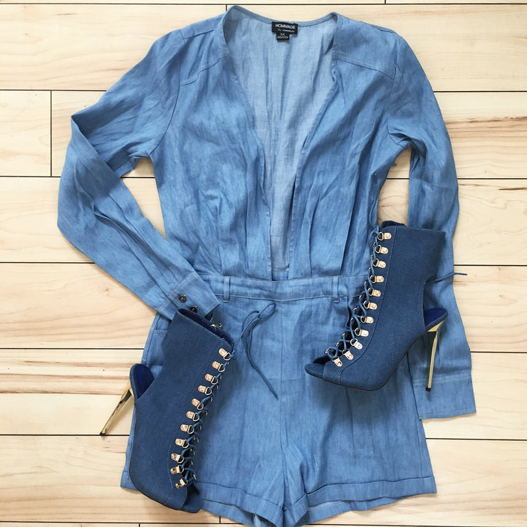 Denim V-Neck Romper - The House of Stylez