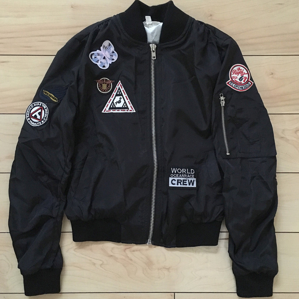 Black Patch Flight Jacket - The House of Stylez