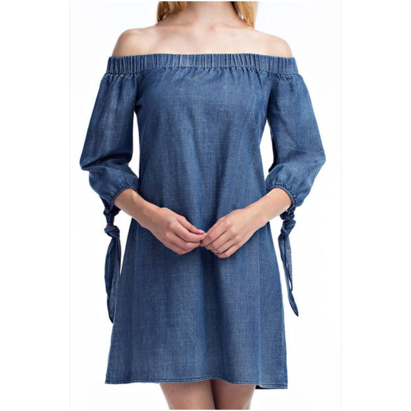 Denim Off The Shoulder Dress - The House of Stylez
