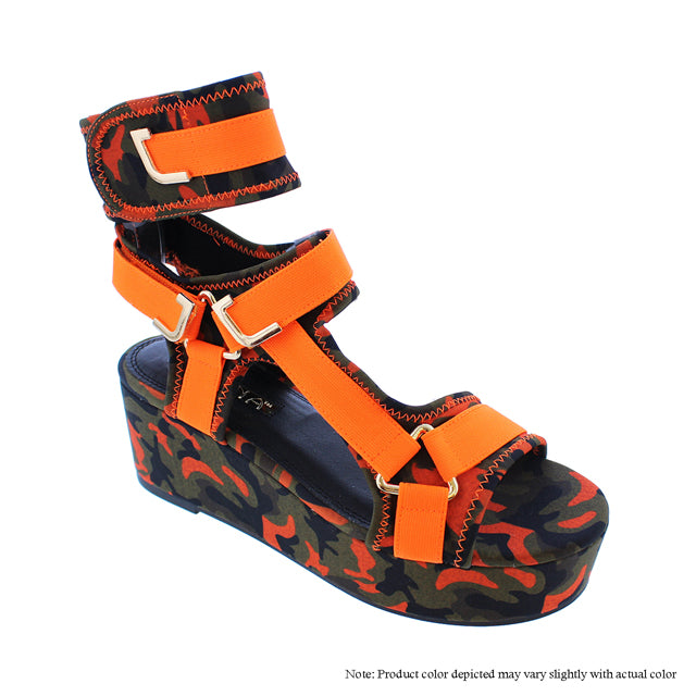 GlamRock Sandals -  Camo//Orange - The House of Stylez