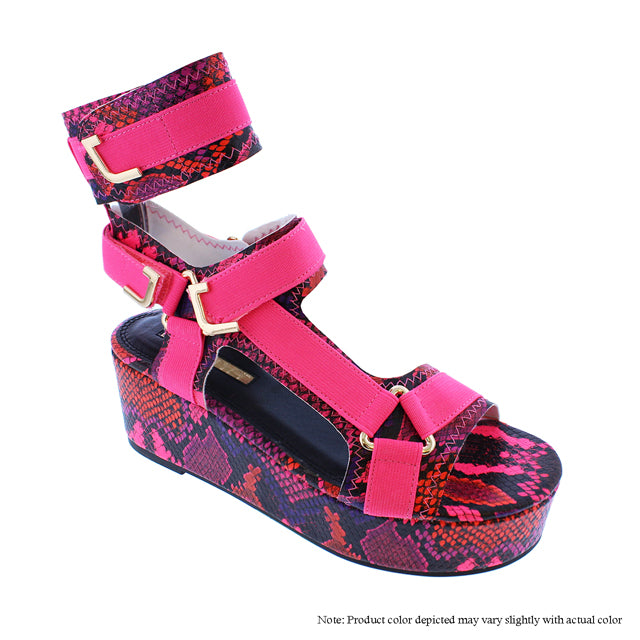GlamRock Sandals -  Pink Multi Snake - The House of Stylez
