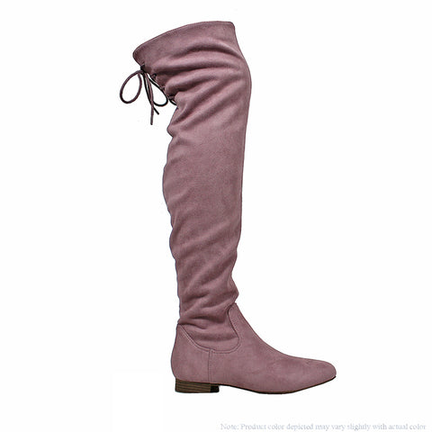 Ultra Suede Over the Knee Riding Boots - Mauve